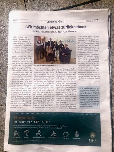 Könizer Zeitung FINA Finanzplanung