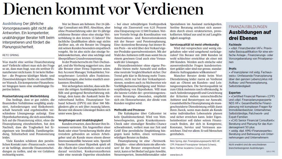 Dienen vor Verdienen FINA Finanzplanung Artikel Handelszeitung