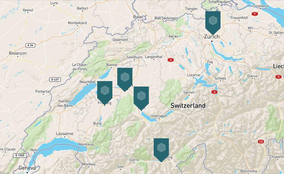 FINA Standorte Bern Fribourg Thun Visp Zürich