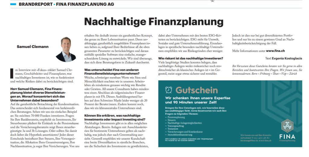 Nachhaltige Finanzplanung und Investments. Fokus Finanzen im Tagesanzeiger Schweiz